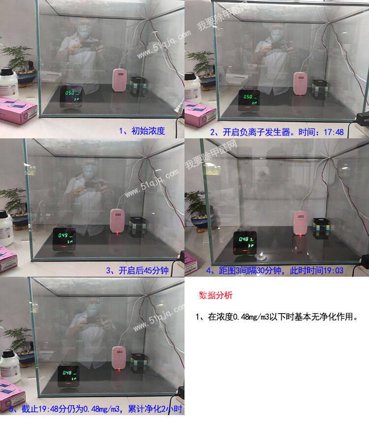 负离子能除甲醛试验之低浓度环境