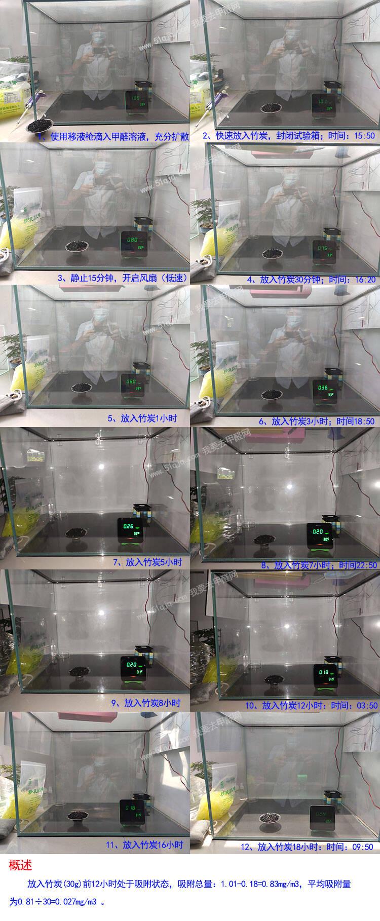 竹炭包吸甲醛试验展示组图