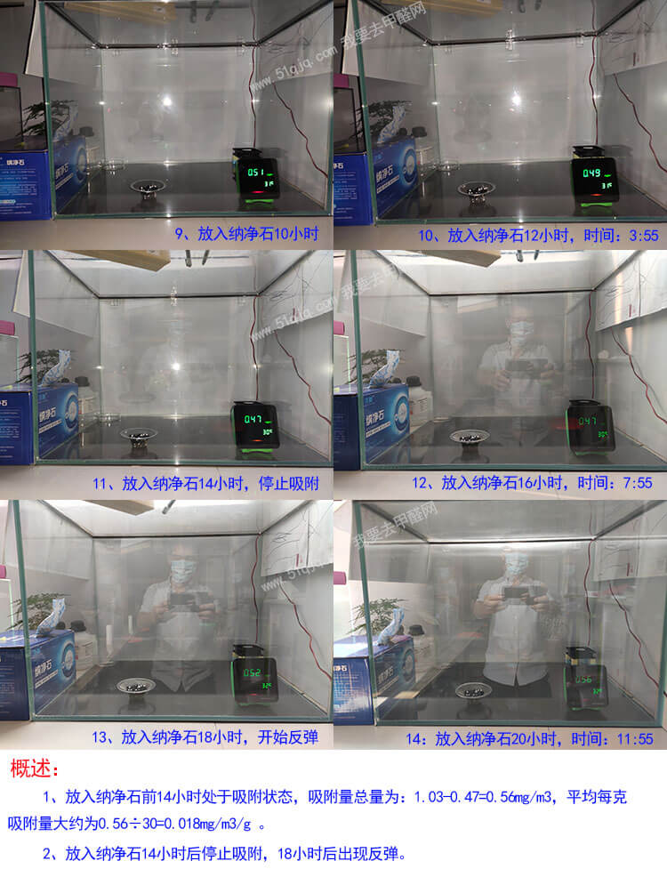 沐美纳净石除甲醛试验过程