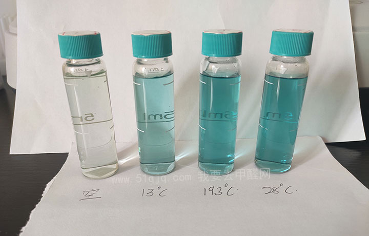 甲醛释放与温度关系试验之检测结果